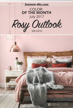 There's no doubt about it. July's Color of the Month gives any space a Rosy Outlook SW 6316. No longer just for nurseries, this trending blush tone has emerged as a true statement color for any room in the house. Wondering about complementary colors and textures? Rose gold, powder-coated metal, glass and clay pair perfectly as decor accents. While colors like Popular Gray SW 6071 and Sealskin SW 7675 are a great choice for trim.