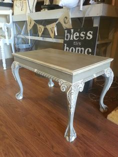 Coffee table done with French Linen Chalk Paint○ decorative paint by Annie Sloan and finished with Old White and Clear and Dark Soft Wax.
