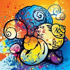 Composición de colorido abstractos conchas en la playa con pintura en aerosol. Foto de archivo - 10576287