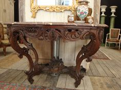 Large oak wood Console, Louis XV, 18th Century. Richly geniune carved legs, royal red marble top. For sale on Proantic by Pierre de Priester Antiquités. #console   #18thcentury