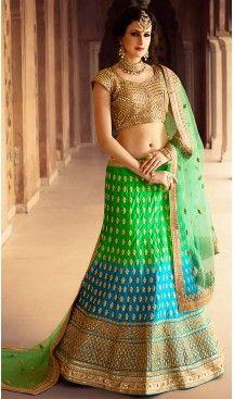 Parrot Green Color Net & Satin Wedding Lehenga Choli | FH486374797 #wedding, #bridel, #lehenga, #choli, #sangeet, #merrege, #engage, #ceremony, #fashion, #online, #boutique, #mode, #henna, #heenastyle, @heenastyle , #party, #designer, #treditional, #style