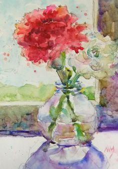 watercolour+flowers+painting+Nora+MacPhail+red+carnation.jpg