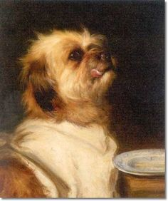 "Terrier with ""A Clean Plate,"" 1887 -- by Maud Earl *"