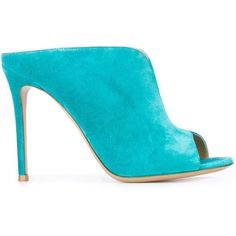 Gianvito Rossi stiletto heel mules (8 410 UAH) ❤ liked on Polyvore featuring shoes, blue, high heel stilettos, gianvito rossi shoes, leather mule shoes, blue stilettos and peep-toe shoes