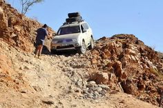 Pajero Sport coming down van Zyl's Pass, Kaokoland, Namibia. This pass has recently been described in a SA motoring magazine as one of the most difficult and dangerous passes in Southern Africa.