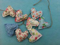 Mini fabric heart garland,bunting,wedding,event in cath kidston cotton fabric £6.50