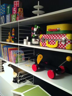 VÅRT NYA HUS. Kids storage, rabbit lamp.