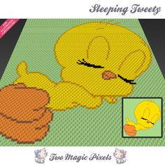 Sleeping Tweety c2c graph crochet pattern; instant PDF download; looney tunes; baby blanket, corner to corner pixel, afghan, graphghan by TwoMagicPixels, $2.84 USD