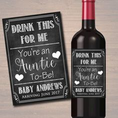 Drink This For Me You're An Auntie To Be, Beer & Wine Label Pregnancy Announcement INSTANT DOWNLOAD Sister Promoted to Aunt Pregnancy Reveal