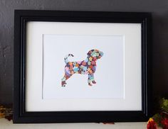 Colorful Flowers Puggle Dog Silhouette by scratchandsniff on Etsy