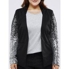 Plus Size Chic Sequined Sleeve Blazer