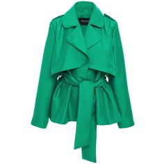 PAPER London     Short Trench Jacket With Wrap Front (1.590 BRL) ❤ liked on Polyvore featuring outerwear, jackets, paper london, green, trench, cropped jacket, trench jacket, waist belt, cropped trench jacket and short jacket