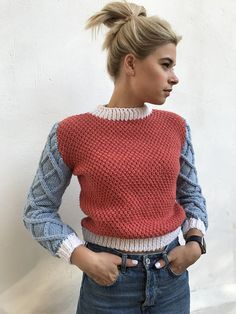 Knit top clothing red blue sweater long sleeve jumper white