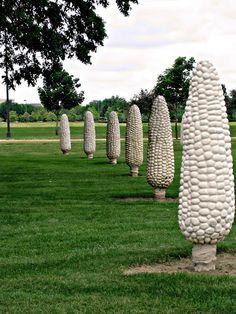 dublin ohio, art, stone, ears, travel, amaz place, ohio place, corn, fields