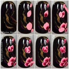 Nails University. Ногти и Маникюр пошагово. Gel Nail Art, Nail Manicure, Diy Nails, Nail Art Modele, Nail Art Fleur, Gel Nagel Design, Nagellack Trends, Flower Nail Art, Beautiful Nail Designs