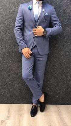 Collection: Spring – Summer 2019 Product: Slim-Fit Wool Suit Color Code: Blue Available Size: Suit Material: wool, polyester Machine Washable: No Fitting: Slim-fit Package Include: Jacket, Vest, Pants Only Gifts: Shirt, Chain and Nec Mens Casual Suits, Stylish Mens Outfits, Mens Suits, Formal Suits For Men, Blue Slim Fit Suit, Blue Suit Men, Blue Suits, Latest Mens Fashion, Mens Fashion Suits