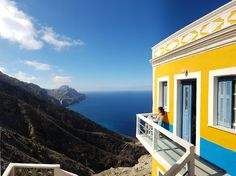 Traditional house with view at Olympos village in Karpathos island  Greece