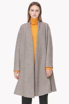 Robe type wool knit coat