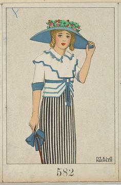 Mela Koehler - Poskarte Nº the Wiener Werkstätte Fashion Prints, Fashion Art, Vintage Fashion, Vintage Postcards, Vintage Images, Vintage Cards, Art Nouveau, Koloman Moser, Illustrations Posters