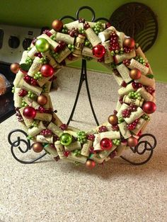 Wine Cork Christmas Wreath - By Sandi K.