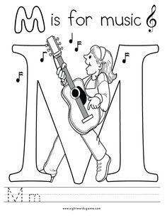 letter m coloring page 3
