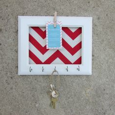 Key Holder Memo board Wall Hook Home Decor - Chevron Frame Organization Navy blue 5 Silver Hooks- House warming gift