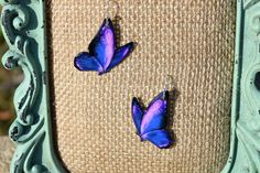 Blue and Pink Butterfly Earrings by ValeriesVanityMirror on Etsy