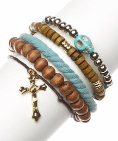 Another great find on #zulily! Gold & Turquoise Bead & Cord Bracelet Set by Treska #zulilyfinds