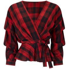 Miss Selfridge Red Checked Tuck Sleeve Wrap Blouse (3.110 RUB) ❤ liked on Polyvore featuring tops, blouses, shirts, red, blusas, assorted, wrap shirts blouses, red shirt, sleeved shirt and shirt blouse