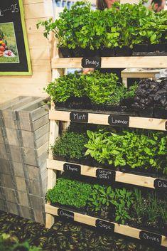 Herb Garden Pallet, Herb Garden Design, Vertical Garden Diy, Edible Garden, Vegetable Garden, Vertical Herb Gardens, Herbs Garden, Gutter Garden, Herb Gardening