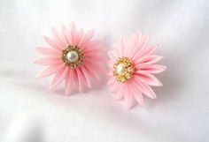 Pink Flower Organza Kanzashi Earrings