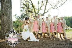 Bridal party portrait on swing.  Spring country wedding at hunting lodge.   Photography:  Andie Freeman Photography www.TheAthensWeddingPhotographer.com Planning, floral and event design:  www.WildflowerEventServices.com Venue: Fair Weather Farms