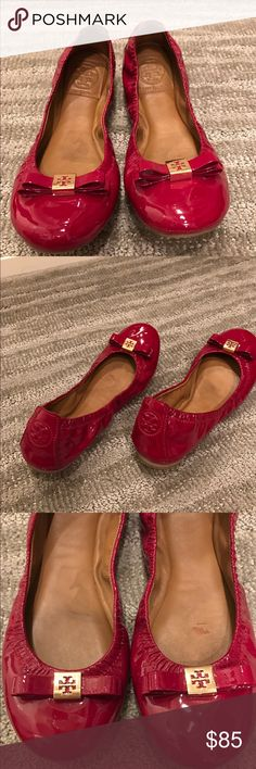 Tory Burch Flats Gently used red patent flats. No scratches, very comfortable. No box. Tory Burch Shoes Flats & Loafers