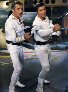 """Buster Crabbe and Gil Gerard from """"Buck Rogers in the 25th Century"""""""