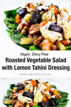 Roasted Vegetable Salad with Lemon Tahini Dressing - Recipes Healthy Salad Recipes, Vegetarian Recipes, Vegan Vegetarian, Whole30 Recipes, Lunch Recipes, Free Recipes, Paleo Menu, Primal Recipes, Fodmap Recipes