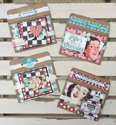 Super cute retro gift card holders using Authentique Fabulous line.