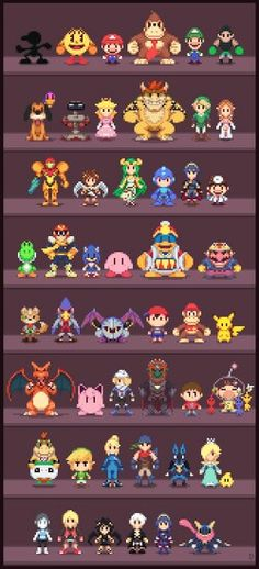 Really Cool Super Smash Bros pixel art of all of the characters from the game!!