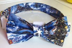 Blue Sparkle Christmas Bow Tie Collar for Dogs and Cats