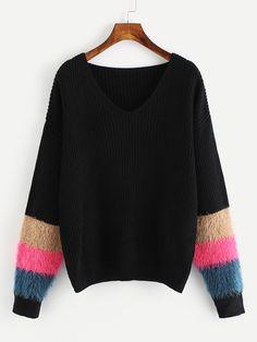 60dbcb1e68 Shop V Neckline Fur Cuff Sweater online. SheIn offers V Neckline Fur Cuff  Sweater