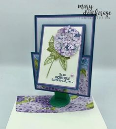 Fun Fold Cards, Folded Cards, Hortensia Hydrangea, Hydrangeas, Hydrangea Garden, Pink Hydrangea, Card Making Templates, Small Cards, Card Tutorials