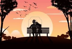 Picture of An image of a couple's silhouette sitting on a park bench during sunset, and the woman's head is resting on the man's shoulder stock photo, images and stock photography. Couple Silhouette, Silhouette Painting, Bench Drawing, Couple Sketch, Romantic Paintings, Couple Painting, Oil Pastel Art, Art Drawings Sketches, Gravure