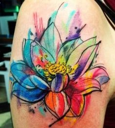 Watercolor-flower-tattoo-rainbow-of-colors-280x311.jpg (280×311)