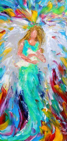 Ángel con bebé impresión 12 x 24 calidad de la por Karensfineart