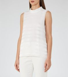 REISS - SANDI TEXTURED HIGH-NECK TOP