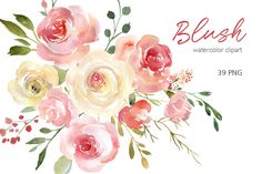 Flower Drawing Blush Watercolor Floral Clipart Free Commercial Use Pink Yellow Flowers Light Aquarelle Roses Peonie - Plant Drawing, Painting & Drawing, Pencil Illustration, Graphic Illustration, Pattern Illustration, Watercolor And Ink, Watercolor Flowers, Watercolor Wedding, Watercolor Painting