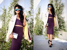 The Caravan Aviators, Alexander Wang Liya Pumps, Alice And Olivia Clear Lucite Clutch, Marciano Knit Bralette, Marciano Skirt