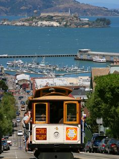 San Francisco looking down at the Maritime Museum, Alcatraz and the Golden Gate Bridge