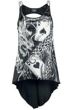 """Top donna """"Imperial Dragon"""" di #AlchemyEngland con parte frontale in raso e tagli sul retro."""