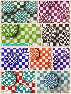 Mini Matisse: Optical Illusion- Checkered Spheres