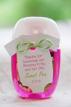 Thanks for honoring our Mommy To Be and her little sweet pea personalized white tag with pink and green writing ~ Baby Shower Onesie Hand Sanitizer Thank You Gift Tags ~ www.KendollMade.com
